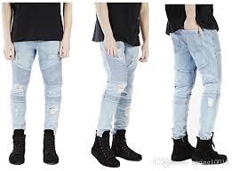 Skinny White Jeans Mens 2017 Nwe Us Size Famous Brand Knee Up Pants Men Cool Biker Black
