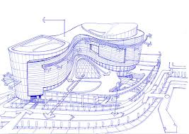 exterior sketch of a shopping mall concept drawing by soran