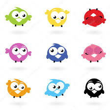 Twitter Color Cute Color Vector Twitter Birds Icons Collection Isolated On Whi