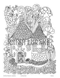 fairy house 5 1 coloring book page printable instant download