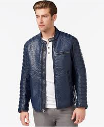 mens moto jacket marc new york broadway faux leather moto jacket in blue for men lyst