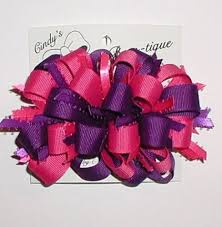 grosgrain ribbons pink purple hair bow puffs loops grosgrain ribbon