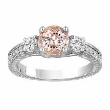 morganite engagement ring white gold three engagement ring 1 28 carat 14k white gold