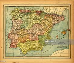Portugal Spain Map by Spain Portugal Vintage Map Stock Photo Getty Images