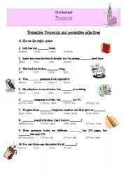 bunch ideas of possessive adjectives and possessive pronouns