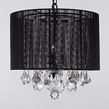 Large Black Pendant Light Black Drum Shade Crystal Chandelier Pendant Light Ceiling