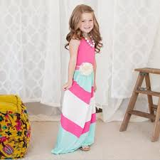 mother and daughter casual boho stripe maxi dress mom kids