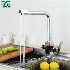 2017 flg square filter faucets kitchen 3 way water tap dual lever