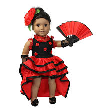 18 Doll Halloween Costumes Amazon Flamenco Red Dress 4pcs 18 Doll Clothes Fits