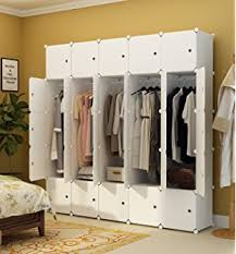 Armoire With Hanging Space Amazon Com Megafuture Wood Pattern Portable Wardrobe For Hanging