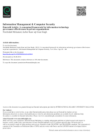 conceptual framework sample thesis a conceptual framework for information technology governance a conceptual framework for information technology governance effectiveness in private organizations pdf download available