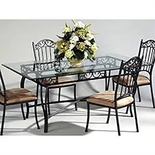 rectangle glass dining room table amazon com chintaly rectangular glass top wrought iron table in