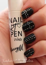 fundamentally flawless barry m matte black with white stitches