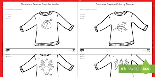 christmas sweater color number activity christmas color