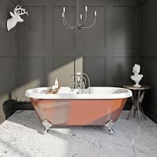 the bath co burnt copper coloured bath victoriaplum com free delivery russet coloured roll top bath in a dark room and marbled floor