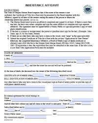 free oregon boat inheritance affidavit form pdf word forms exa