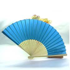 cheap wedding fans cheap customized wedding gifts for guests blue silk wedding fan