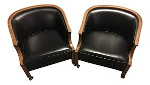 Black Wooden Chair Png John Stuart Black Leather U0026 Wood Bucket Chairs On Casters A Pair
