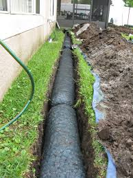 nds ez drain pre constructed french drain installation yard