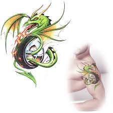 online shop green dragon tattoos waterproof temporary tattoo
