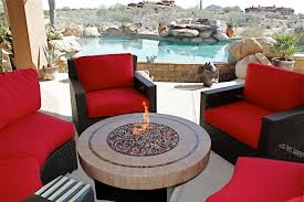 Round Table Patio Dining Sets - catchy red chiars surrounding round table with gas fire pit part