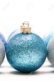 Christmas Tree Decorations Blue And Silver A Shot Of Blue And Silver Christmas Ornaments Stock Photo Picture