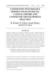 community psychology perspectives on social capital theory and