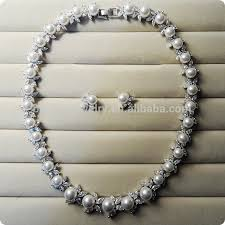 luxury necklace images Pearl jewelry set platinum plated cz stone luxury necklace and jpg