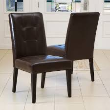 faux leather parsons dining chair solid rubber wood legs