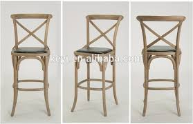 Antique Wooden High Chair Antique Wood Pu Seat Cross Back Bistro Counter Stool Bar Stool