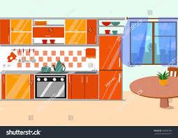 kitchen furniture long shadows flat cartoon stock vector 430587565