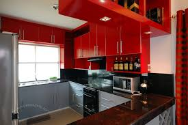 red and black kitchen curtains classic richly stained wood cabinet