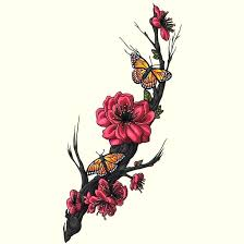 flowers and butterfly tattoo design