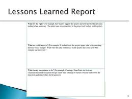 lessons learnt report template ppt project close out and termination powerpoint presentation lessons learned report