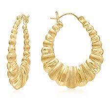 earrings gold design mcs jewelry 10 karat yellow gold shrimp hoop earrings