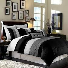 White Bedroom Men Bedroom Black Gray Comforter Sets On Light Wooden Floor For