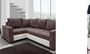 canapé angle convertible marron canape angle en tissu avec couchage et coffre de rangement