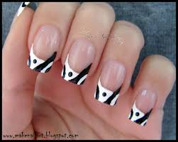 make nail art black and white abstract french manicure nail art