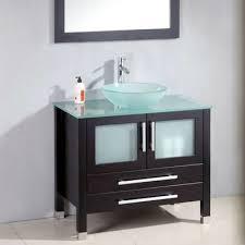 Espresso Bathroom Storage 35 In Espresso Wood Glass Basin Sink Bathroom Vanity Set