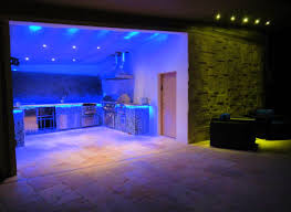awesome blue led light kitchen design combined with green light