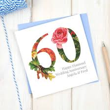 personalised diamond 60th wedding anniversary card by chi chi moi