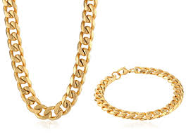 steel necklace jewelry images Men 39 s gold tone stainless steel curb chain bracelet and necklace jpg