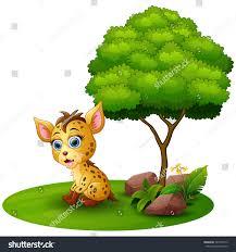 vector illustration cartoon hyena under tree stock vector