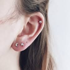 ear studds moon micro ear studs minimal beautiful