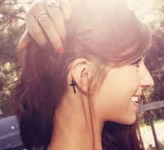 demi lovato tattoo cross cross behind ear tattoo tattoos pinterest tattoo piercings