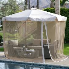 Patio Gazebos And Canopies by Tuscan Orange Red 11 Ft Offset Patio Umbrella Gazebo With Canopy