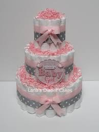 3 tier baby pink and gray diaper cake baby shower