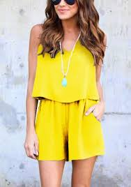 jumpsuit shorts yellow 2 in 1 pockets slit sewing mid rise jumpsuit shorts