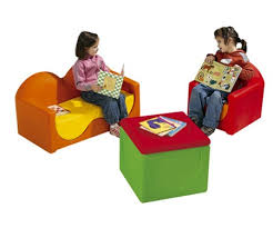 waiting room furniture kids couch chair and storage bin by wesco