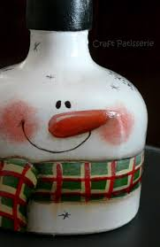 country painting bottle snowman botellas decoradas